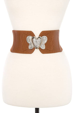 Rhinestone pave heart accent stretch belt