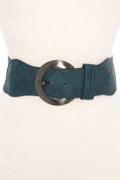 Woven faux leather accent stretch belt