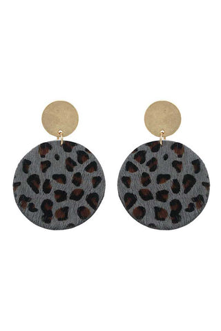 Animal print circle drop earring