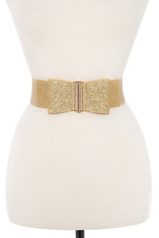 Glittered bow accent stretch belt