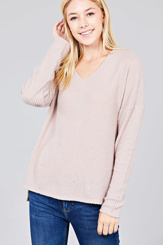 Brushed Waffle Knit Top