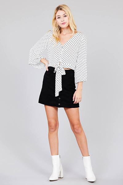 Tie Me Up Dot Printed Top