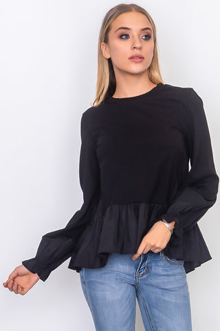 Classy and Relaxed Ruffle Sleeve Top