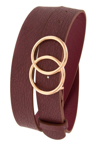 Double ring buckle wide faux leather belt