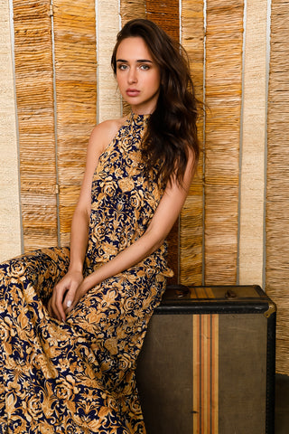 Golden Bohemian Maxi Dress