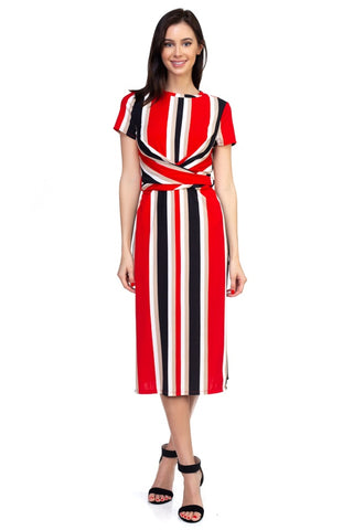 Striped and Twisted Midi Dress