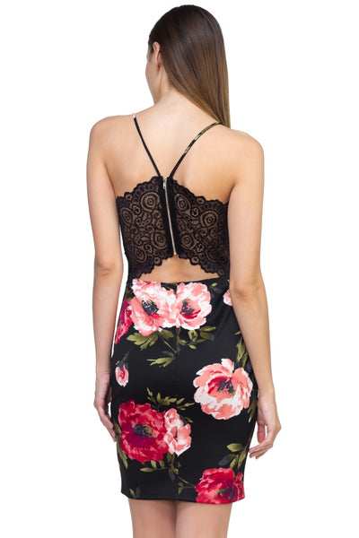 Floral and Lace Mini Dress - Black
