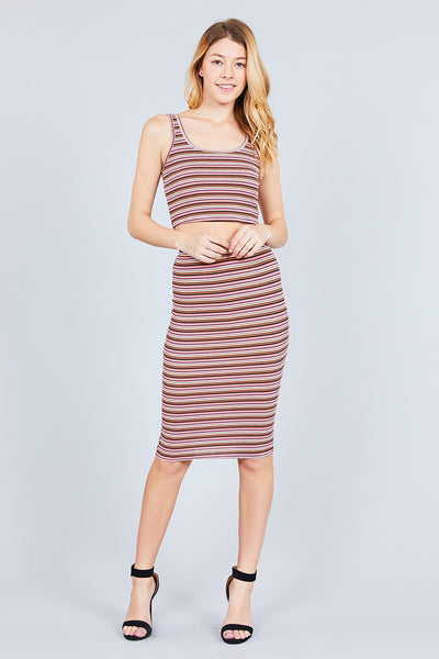 Striped Midi Skirt Set