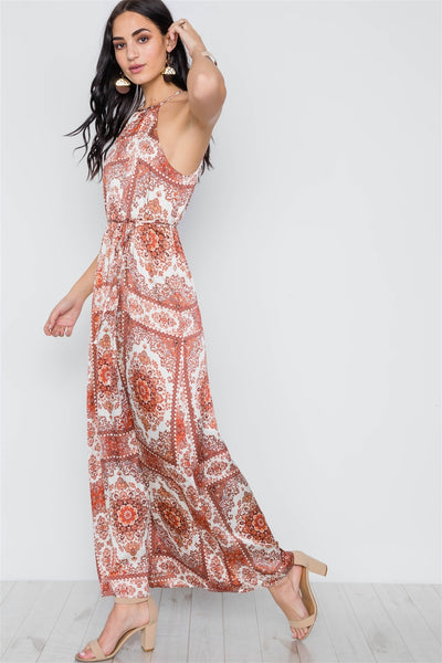 Cream Multi Paisley Print Cami Maxi Self Tie Dress
