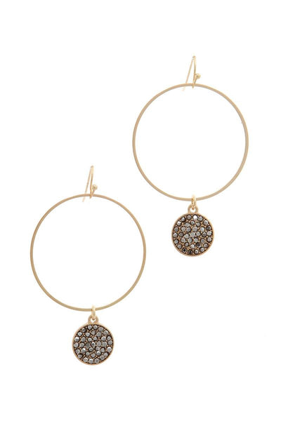 Rhinestone Circle Drop Earring