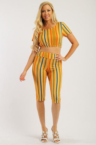 Pin Striped, 3 Piece - Mustard