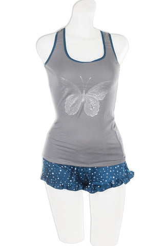 Knit Racerback Tank With Printed Ruffled Shorts Set