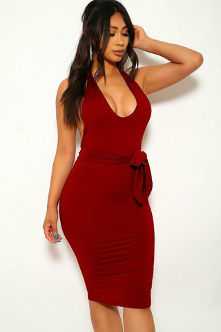 Out Here Body con - Burgundy