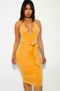 Out Here Body Con Dress - yellow