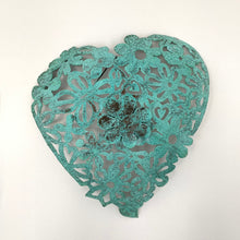 Load image into Gallery viewer, Green patina lace copper heart