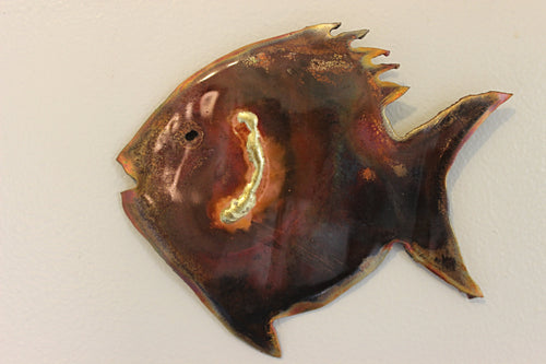 Copper baby fish artwork