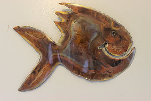 Copper Piranha Happy Fish Wall Art