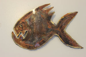 Copper Piranha Grumpy Fish Wall Art