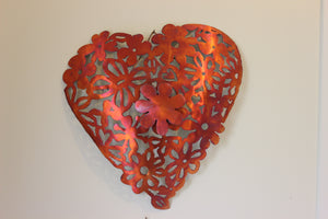 Copper Lace Heart Large Wall Art
