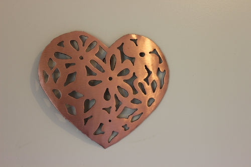 Copper Lace Heart Small Wall Art