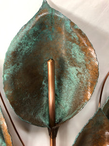 Copper Patina Set of 5 Lilies