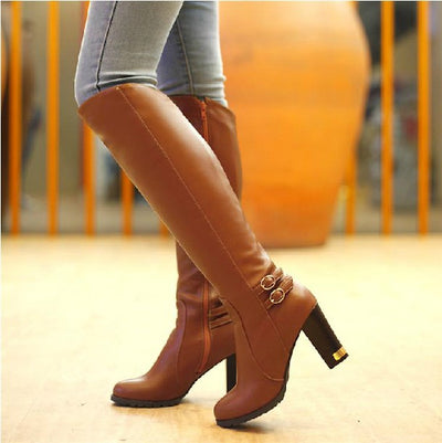 High-Heeled Knee Boots Women Ankle Belt Buckle Side Zipper