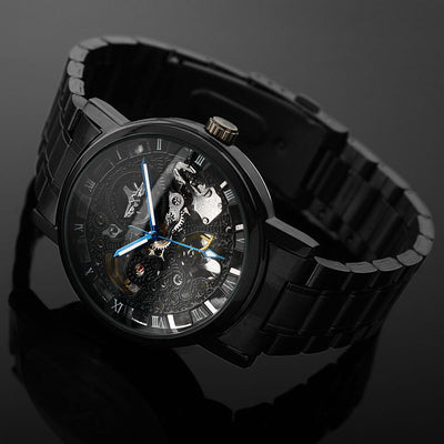 Black Men's Skeleton Wrist Watch Stainless steel