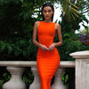 Celebrity party bandage dress Runway orange Dress O-Neck Side