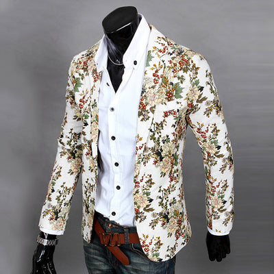 Men Floral Printing Blazer Slim Party Single Breasted Suit Jacket
