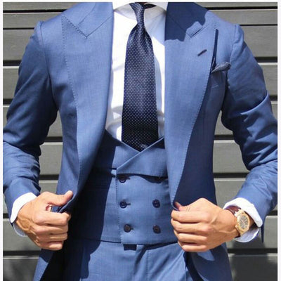 Light Blue Double Breasted vest Men Suit Tuxedo Slim Fit Skinny