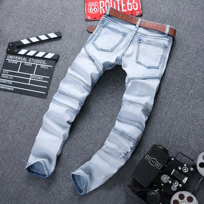 Skinny Jean Distressed Slim Elastic Jeans Denim