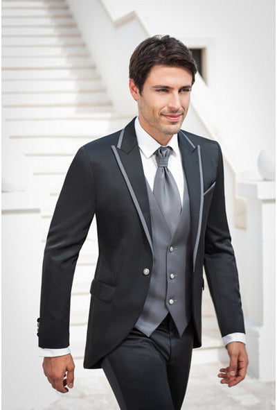 Tailcoat Morning Style Men's Suits Navy Blue Suit 3 Piece