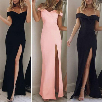 Women's Off Shoulder Dresses Casual Long Maxi Evening Dress Solid