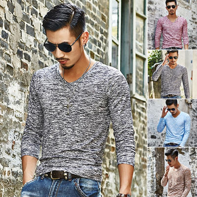 Mens Long Sleeve Cotton Tops Casual
