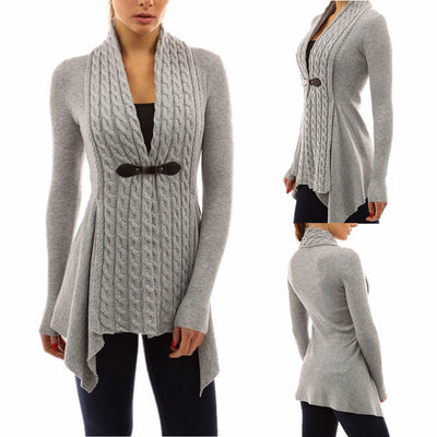 Fashion Long Sleeve Knit Pure Color Cardigan Jacket Casual Sweater