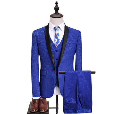 Blue Jacquard Men's Suits Jackets + Vests + Pants