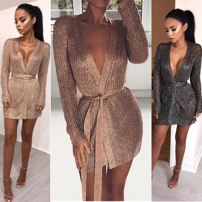 Winter long Sleeve Casual Loose Knitted Jumper Mini Dress Sexy Girding Mini Dress