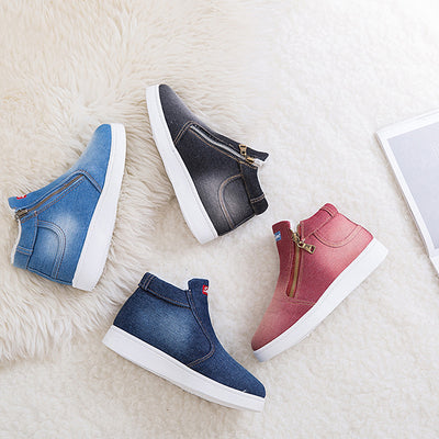 Demin Snow Boots Winter Round Toe Zip Platform Ankle Boots for Women
