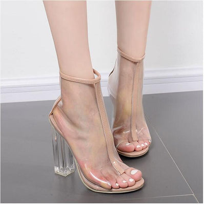 35ee9c2a69e9a Europe Spring summer sexy high heels shoes Transparent crystal cool boots  sandals