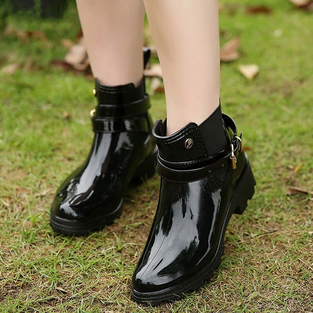 9aaac4514 Rain Chelsea Rubber Ankle Boots Autumn Ladies Black With Women Shoes ...
