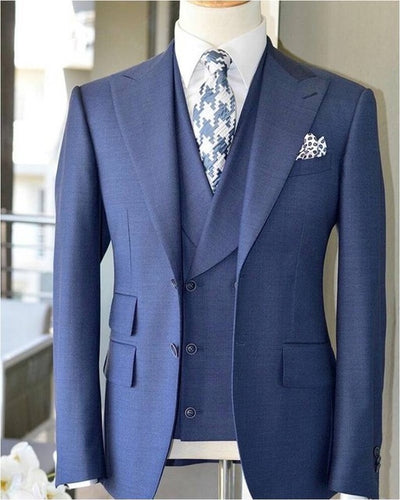 Coat Pant Design Light Blue Men Suit Slim Fit 3 Piece Suit