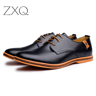 Leather Casual Men Shoes Fashion Men Flats Round Toe Comfortable