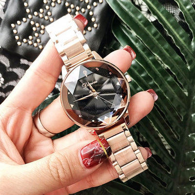 Luxury Brand lady Crystal Watch Rose Gold Quartz Watches