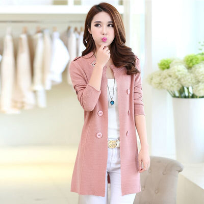 Autumn Spring Cardigans Casual Warm Long Design Knitted Coat Sweater