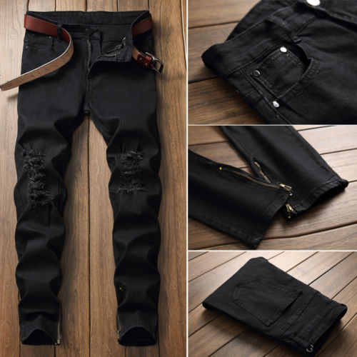 ae9a0a158c5 Ripped holes Zip skinny biker black white w/ Pleated patchwork slim fit hip  hop jeans