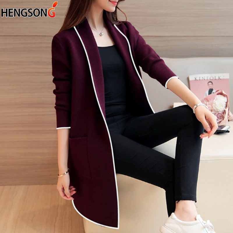 989130d2ea Spring Autumn Knitted Cardigan winter Jacket Loose Big Long Sweaters coat
