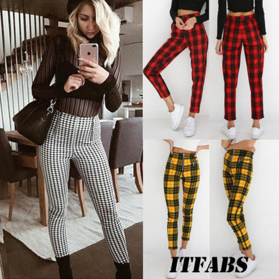 Plaid High Waist Pant Women Skinny Jeans Zipper Pencil Pants Plus Size S-2XL