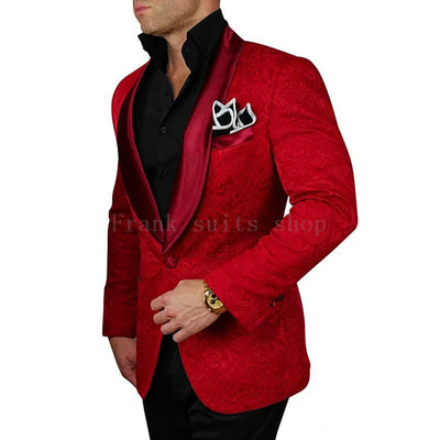 Red Jacquard Black Pants Groom Tuxedos Shawl Lapel( jacket+Pants)
