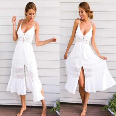 Women's White Sundress Maxi Dress