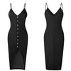 Dress Women Ladies Sleeveless V-Neck Skinny Solid Button High Waist